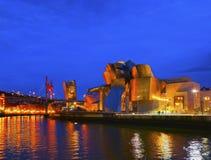 The Guggenheim Museum Bilbao. Night view of The Guggenheim Museum in Bilbao, Biscay, Basque Country, Spain Stock Photo