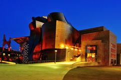 Guggenheim Museum in Bilbao, Spain. BILBAO, SPAIN - NOVEMBER 14: Guggenheim Museum Bilbao at night on November 14, 2012 in Bilbao, Spain. The famous museum Stock Image