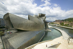 The Guggenheim Museum of Contemporary Art of Bilbao (Bilbo), located on the North Coast of Spain in the Basque region. Nicknamed T Stock Photo