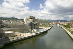 The Guggenheim Museum of Contemporary Art of Bilbao (Bilbo) on the river Ibaizabal, located on the North Coast of Spain in the Bas Royalty Free Stock Photos