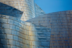 Guggenheim Museum Detail. Guggenheim Museum Bilbao on August 6, 2013 in Bilbao, Spain. The famous museum, coated with titanium sheets, was designed by Frank Stock Photo