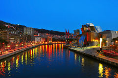 Guggenheim Museum at night in Bilbao Royalty Free Stock Image