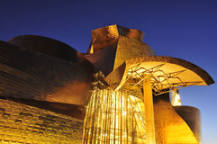 Guggenheim Museum at night in Bilbao, Spain Stock Photography
