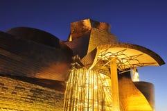 Guggenheim Museum at night in Bilbao, Spain Stock Photography
