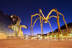 Guggenheim museum and spider at night in Bilbao. Guggenheim museum and spider at the night in Bilbao Royalty Free Stock Photo