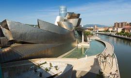 Guggenheim Museum in sunny day. Bilbao. BILBAO, SPAIN - JULY 4, 2015: Close up of  Guggenheim Museum in sunny day. Bilbao Stock Photography