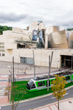 The Guggenheim Museum and Tram transport Stock Photos