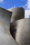 Guggenheim museumBilbao detalj mot skyen Royaltyfri Bild