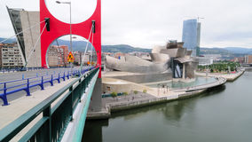 Guggenheim no.14. Facade of the Guggenheim museum in the Spanish city of Bilbao with the river Nervion beside and a road bridge in the front Royalty Free Stock Images