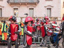 Guggenmusic Fracassband sounds in the town hall square and the s Royalty Free Stock Images