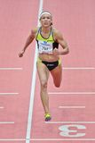 Gugl Indoor 2012. LINZ, AUSTRIA - FEBRUARY 2 Lolo Jones (USA) wins the women's 60m hurdles event on February 2, 2012 in Linz, Austria Stock Photo
