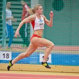 Gugl Indoor 2012. LINZ, AUSTRIA - FEBRUARY 2 Louis Bloor (Great Britain) places 15th in the women's 60m sprint event on February 2, 2012 in Linz, Austria Stock Photo