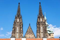 Guglie della cattedrale della st Vitus Immagini Stock Libere da Diritti
