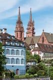 Guglie della chiesa di Basilea Minster Fotografia Stock