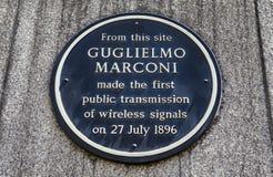 Guglielmo Marconi Plaque in Londen Stock Foto