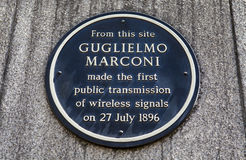 Guglielmo Marconi Plaque in London Stockfoto