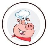 Guiño de la bandera del círculo del carácter de la mascota de Pig Face Cartoon del cocinero ilustración del vector