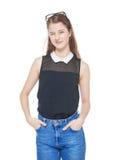 Guiño hermoso joven de la muchacha del adolescente aislado Imágenes de archivo libres de regalías