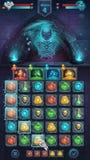 GUI da batalha do monstro com esqueleto assustador ilustração do vetor
