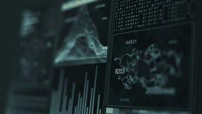 GUI da tela dos dados do computador de relação da tecnologia vídeos de arquivo