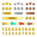 GUI de la interfaz gráfica de usuario del juego Diseño, botones e iconos Ejemplo del equipo del ui del juego aislado en el fondo  Foto de archivo