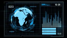 GUI de la pantalla de los datos del ordenador de interfaz de la tecnología metrajes