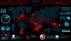 GUI. World Virus in HUD style. The Spreading Virus on The World Map, The Threat of Infection of The World. Otic Infected Areas, Quarantine Zones, Epidemic vector illustration
