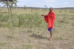 Guia Massai Mara Park Kenya de Massai foto de stock