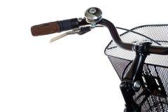 Guiador da bicicleta da cidade com sino do anel fotografia de stock