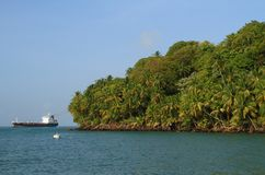 Guiana francese, Iles du Salut - isole di salvezza: Isola reale - linea costiera fotografie stock libere da diritti