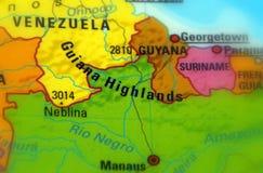 Guiana Highlands, South America. Guiana Highlands, plateau and low-mountain region of South America Stock Image