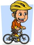 Guida castana del carattere del ragazzo del fumetto sulla bicicletta illustrazione vettoriale