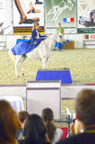 Guida del cavaliere su un cavallo bianco Mosca che sbarazza Hall International Equestrian Exhibition Immagine Stock Libera da Diritti