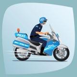 Guida del poliziotto o dell'ufficiale di polizia sul motociclo illustrazione vettoriale