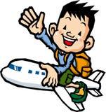 Guida del ragazzo su un aeroplano Immagine Stock