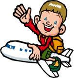 Guida del ragazzo su un aeroplano Fotografie Stock Libere da Diritti