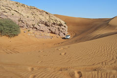 Guida della duna nel deserto arabo Immagini Stock