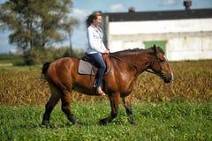 Guida della giovane donna su un cavallo marrone Immagine Stock