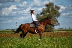 Guida della giovane donna su un cavallo marrone Immagine Stock Libera da Diritti