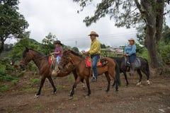 Guida della parte posteriore del cavallo degli agricoltori di Tico Fotografie Stock