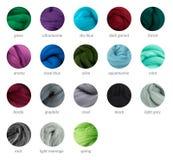 Guida della tavolozza della lana merino di colori freddi con i titoli Immagini Stock