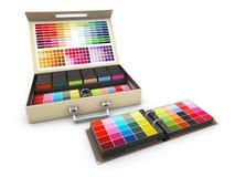 Guida della tavolozza della scatola dei colori su fondo bianco, illustrazione 3d Immagine Stock Libera da Diritti