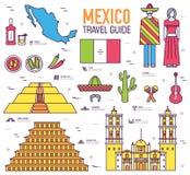 Guida di vacanza di viaggio del Messico del paese delle merci, dei posti e delle caratteristiche Insieme di architettura, aliment Fotografie Stock Libere da Diritti