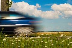 Guida di veicoli blu vicino Fotografie Stock