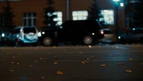 Guida di veicoli delle luci e della città nel fondo di traffico Le foglie di autunno spargono lungo la strada di notte dal vento  archivi video