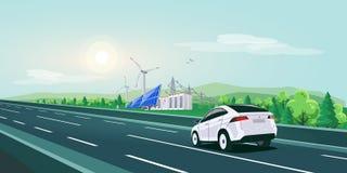 Guida di veicoli elettrica sulla strada della strada principale con il paesaggio di griglia di stoccaggio della batteria dell'ene fotografia stock