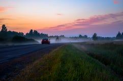 Guida di veicoli nella nebbia della foresta al tramonto Fotografia Stock Libera da Diritti