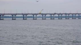 Guida di veicoli sul grande ponte concreto sopra il fiume in una città video d archivio