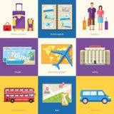 Guida di viaggio infographic con le posizioni e gli oggetti di giro di vacanza Turismo con il viaggio veloce del mondo su una pro illustrazione vettoriale