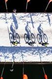 Guida grassa della bicicletta della neve della bici nella curvatura, Oregon Immagine Stock